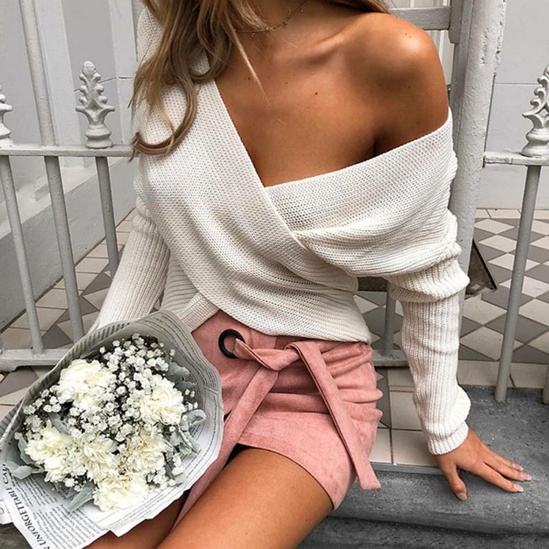 2018 Women Autumn Winter Warm V neck Long Sleeve Cute Solid Color Irregular Hem Loose Wild Sweater Sexy Knitted Pullovers 25 in Pullovers from Women 39 s Clothing