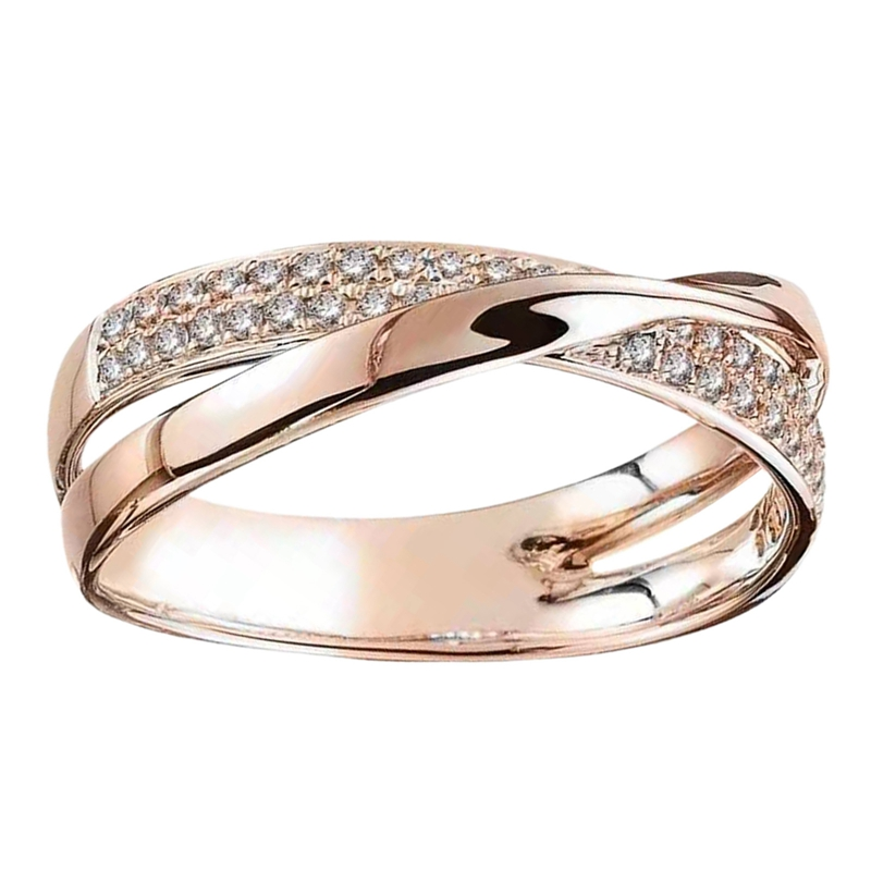 New Fresh Dazzling CZ Stone Rings Simple Personality X-shaped Cross Two-tone Ring Jewelry For Women Wedding Trendy Jewelry