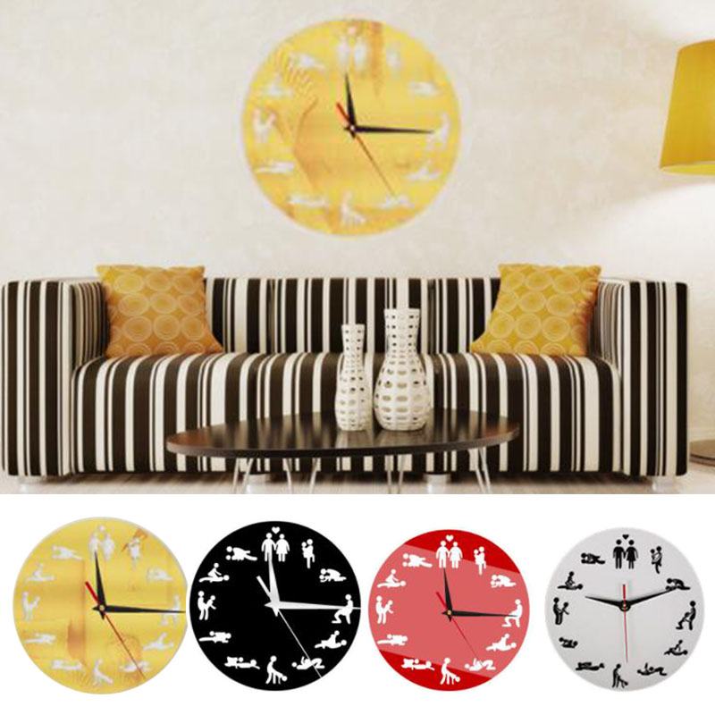 Clocks Sexual <font><b>Sex</b></font> Posture Wall Clock Fashion Couple Decor Art <font><b>Watch</b></font> Gift image