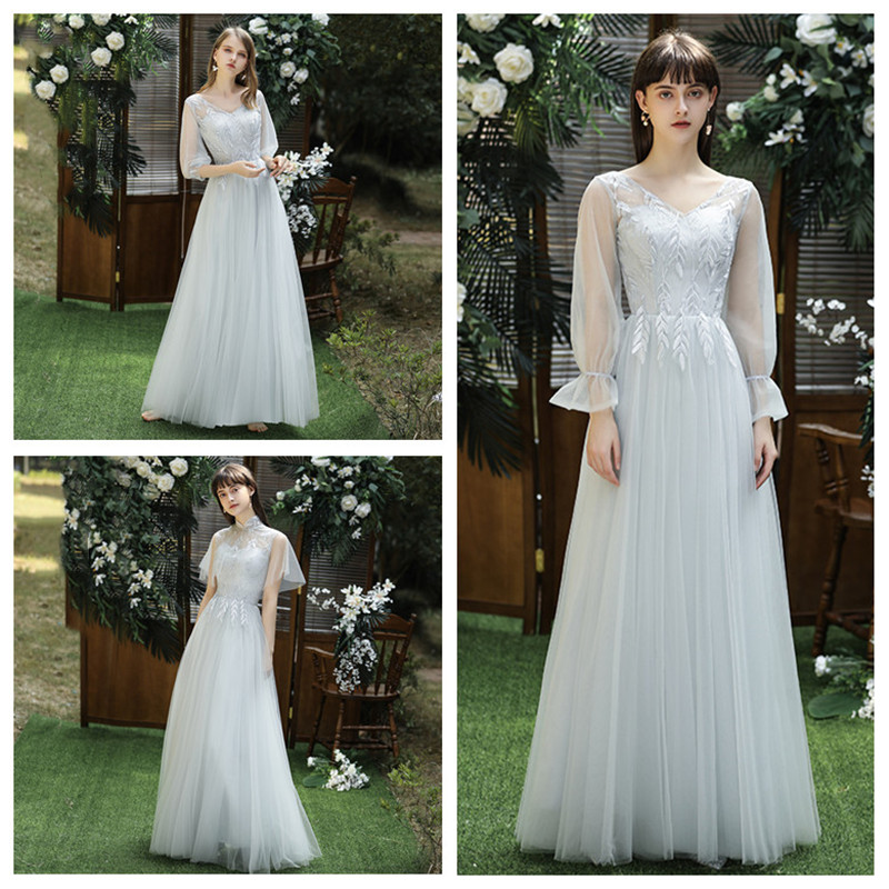 Grey Bridesmaid Dresses Embroidery Pattern Wedding Party Gowns V-Neck Puff Sleeve A-Line Ankle-Length Elegant Women Dress R063
