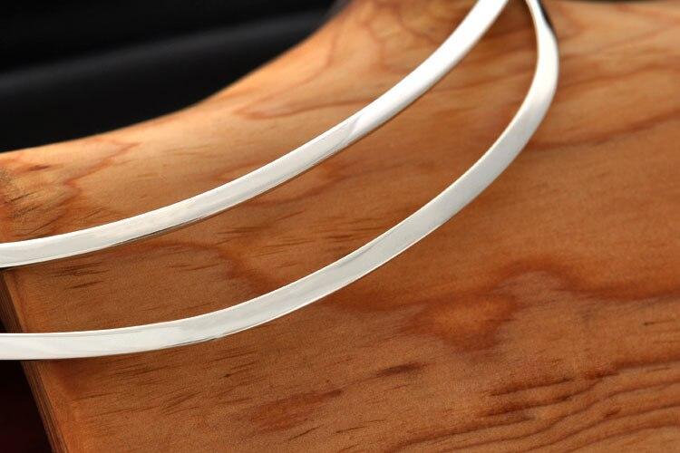 esterlina clavícula pendurado pingente colar 45cm 3mm de espessura