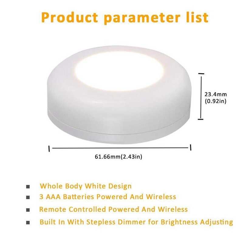 Под шкафом свет беспроводной датчик касания с регулируемой яркостью светодиодный ночник батарея мощность пульт ДУ, совместимый для кухонной лестницы