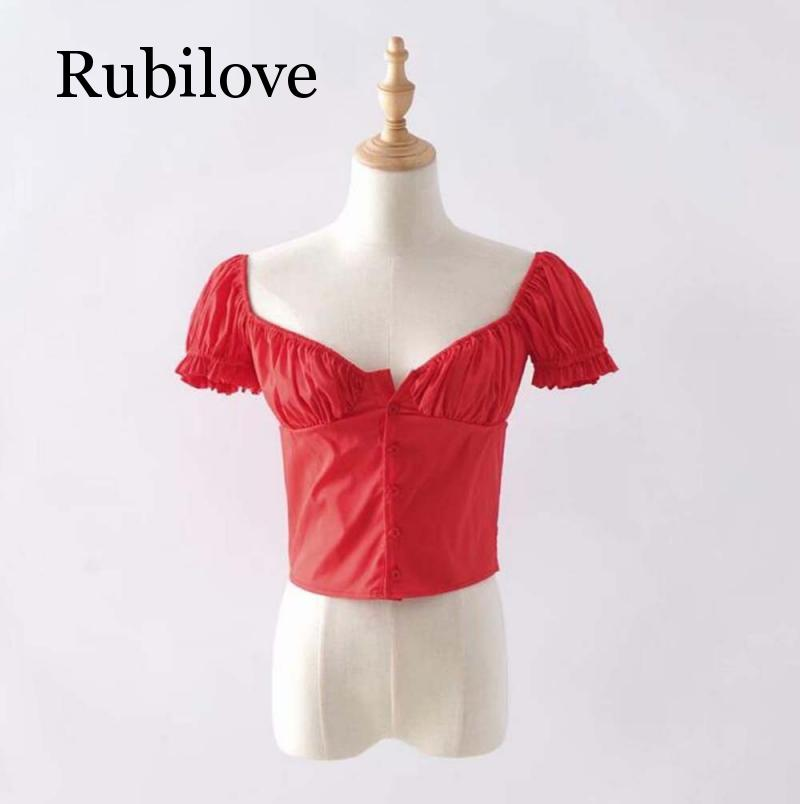 Rubilove Vintage button women blouse summer short sleeve top white korean fashion clothes black shirt 2019 summer womens clothin in Blouses amp Shirts from Women 39 s Clothing