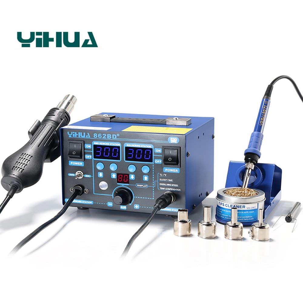 2In1 SMD Rework Pájecí stanice Digitální displej Antistatická horkovzdušná pistole Pájka se zvětšovacím sklem LED svářecí stanice