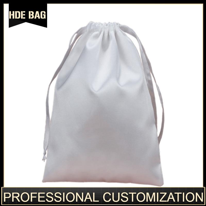 Custom Logo And Size Satin Hair Bags Ribbon Drawstring Silk Hair Extension Packaging Bags Pouches Shoes Cloth Storage Bag