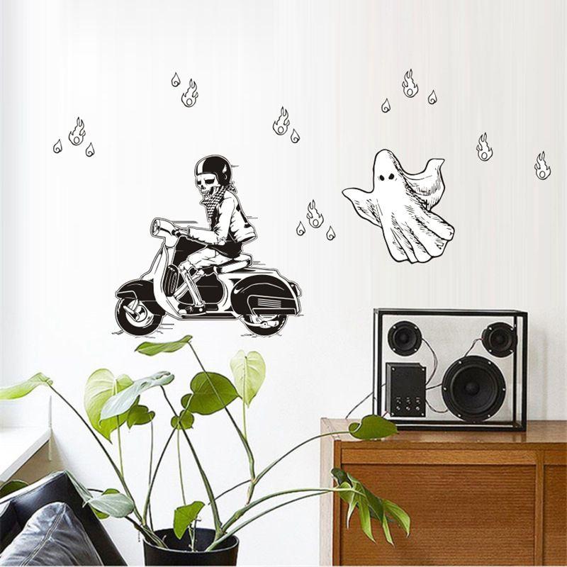 Декоративные настенные Стикеры для дома на Хэллоуин, новинка, из ПВХ виниловые художественные ПВХ наклейки с черепом на мотоцикле. vc