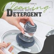 Автоматическая жидкость добавление Стальная проволока мяч Кухня мыла распределяя щётка-наладонник EasyUse скруббер отмыть средство, мыло дис...