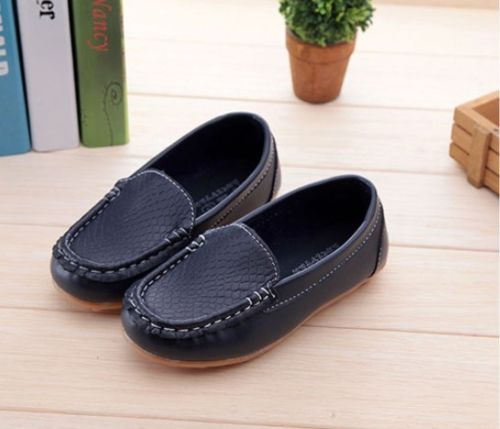 Boys Girls Shoes Kids Baby PU Leather Boat Sneakers Oxford Flat Shoes Slip On Lazy Loafers Anti Slip Shoes For Girls Kids D30