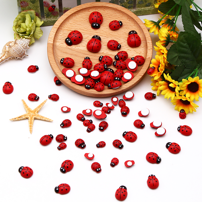 50/35/30/25/20pcs 5 Sizes  Miniature Wooden Craft Garden Red Landscape Ladybug Decoration Wooden Diy And Crafts Wood Ornaments