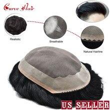 Тонкий моно прочный мужской парик с полимерным покрытием Реми система сменный парик