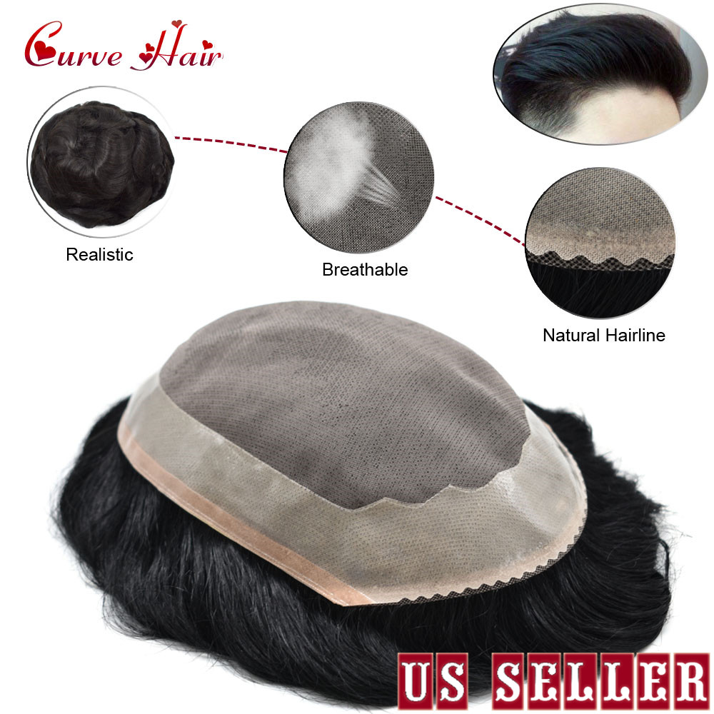 Fine Mono Durable Mens Toupee Poly Coating Remy Hair System Replacement WigToupees   -