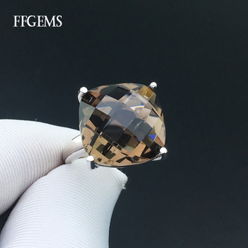 FFGems Smoky Quartz Rings Sterling Real 925 Silver Crystal Gemstone Fine Jewelry Women Engagement Wedding Gift voroco 2019 real 925 sterling silver vintage london city rings for women fashion party wedding luxury fine jewelry gift bkr474