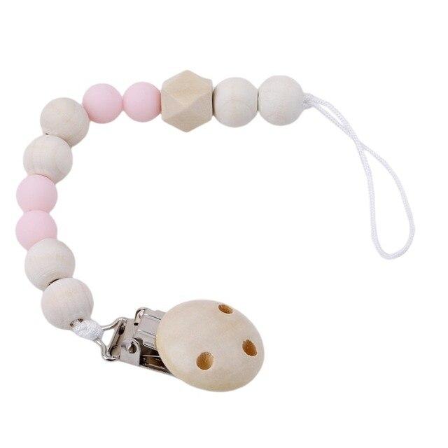 1 pièces nouveau en bois bébé jouet cadeau attache sucette support de chaîne en bois perle jouet de dentition pour bébé mâcher hochets Mobiles nouveau-né jouet cadeau