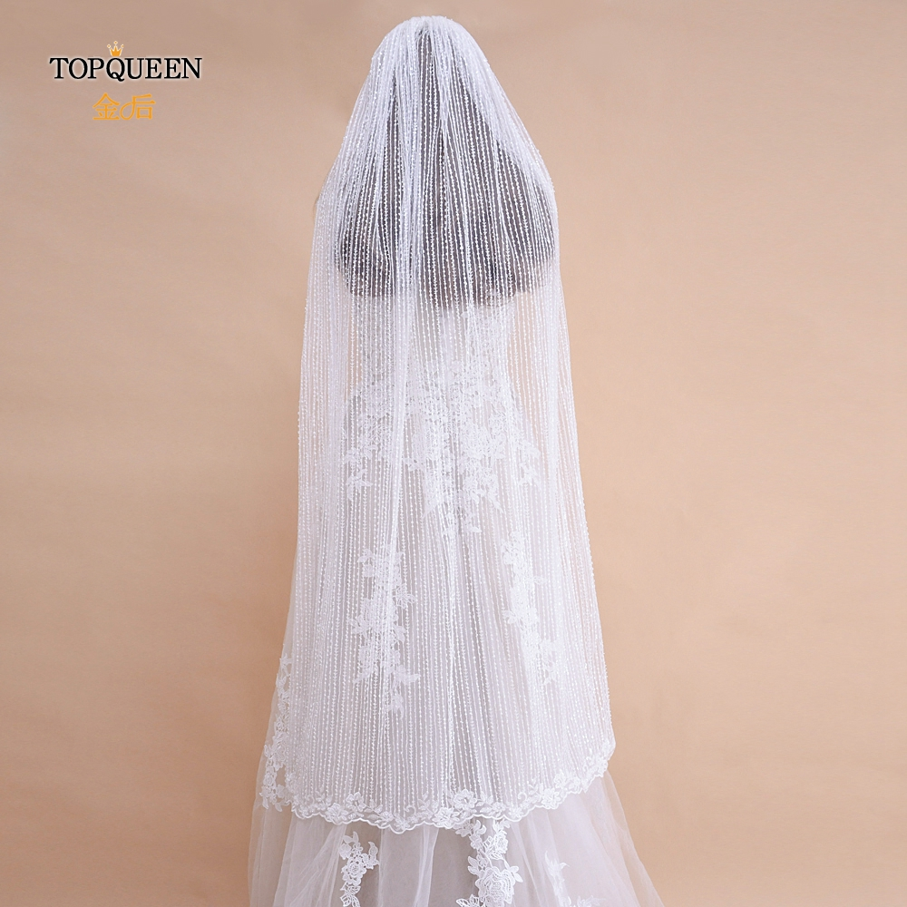 TOPQUEEN Wedding Veils and Headpieces  Bridal Veil Ivory  White Bridal Veil with Comb  Wedding Accessories Beaded Veil VB07