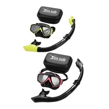 Yon Sub 2 Pcs Professional Diving Mask Snorkel Anti-Fog Goggles Glasses Set Swimming Equipment Snorkel Breathing Tube Eye Protec
