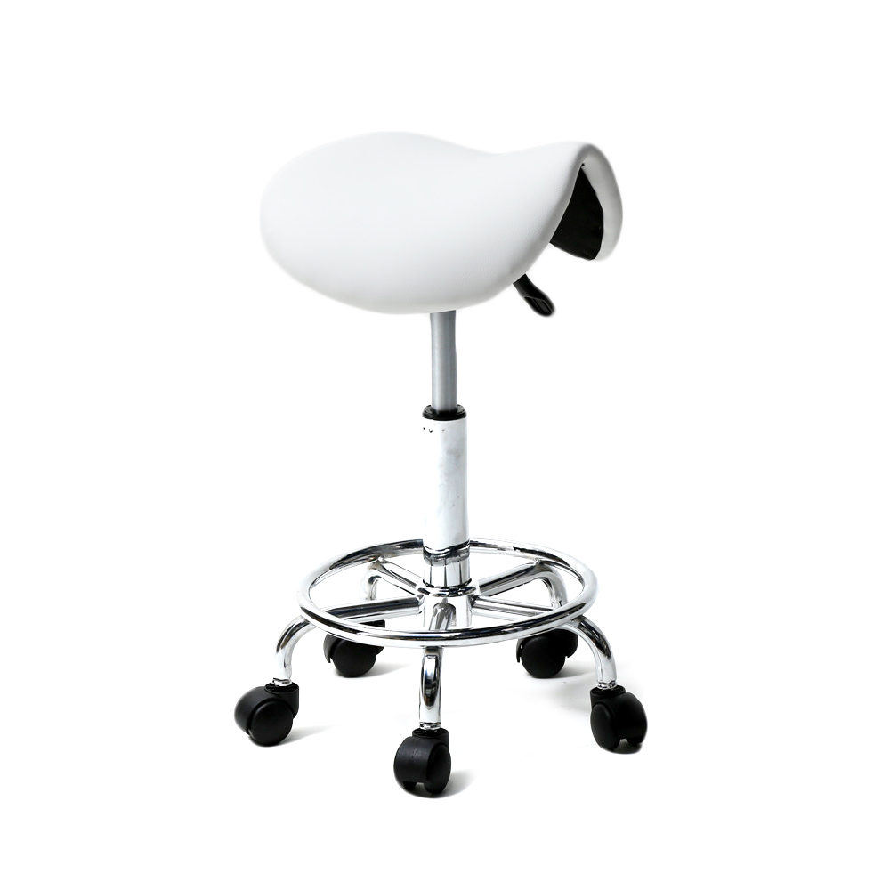 【UK Warehouse】Saddle Stool Ha Ha Feet Rotation Bar Stool White  {Free Shipping UK} Drop Shipping