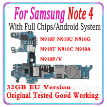 100% Original desbloqueado Samsung Galaxy Note 4 N910U N910G N910F N910T N910C N910A N910P N910V 32gb Motherboard Com chips MB