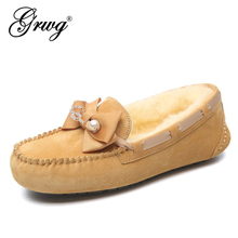 Moccasins Flats Footwear Loafers Women Shoes Female Genuine-Leather Casual Driving Fur