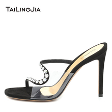 Black Clear Heels for Women 2020 High Heel Mules Heeled Slides Slippers Slide Sandal Ladies Transparent Shoes Diamond Sandals clear panel two part heeled sandals