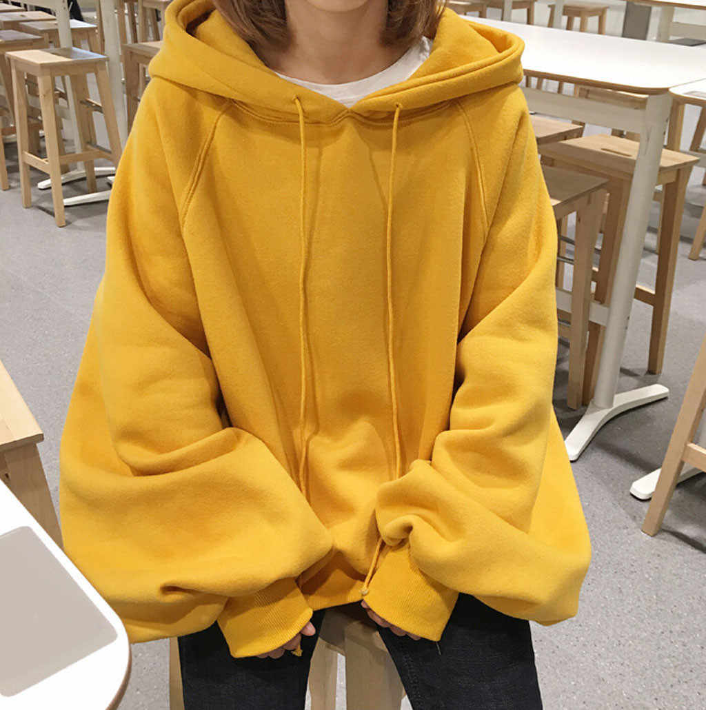 chic Solid oversized hoodie women floral o-neck female autumn winter casual long sleeve pullovers hoodie sweatshirts #0102