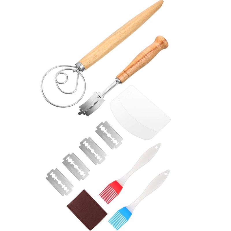 Danish Dough Whisk Hand Crafted Bread Lame With Protective Cover , 2 Pieces Silicone Brush, Dough Scraper, Dough Whisk Tools Set