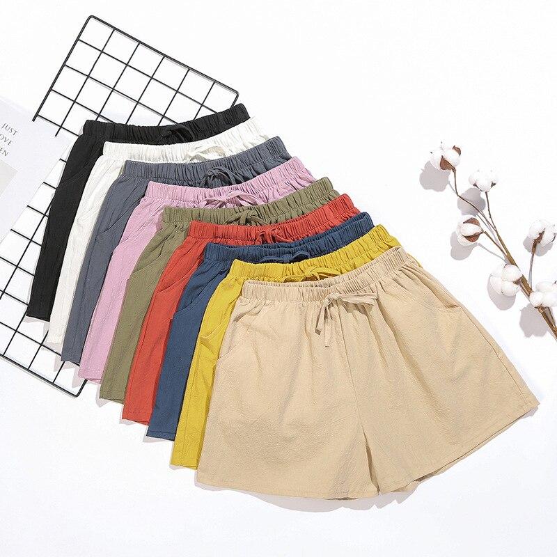 Summer Plus Size High Waist Casual Linen Shorts Women All-match Loose Short Pants Streetwear Women's Shorts