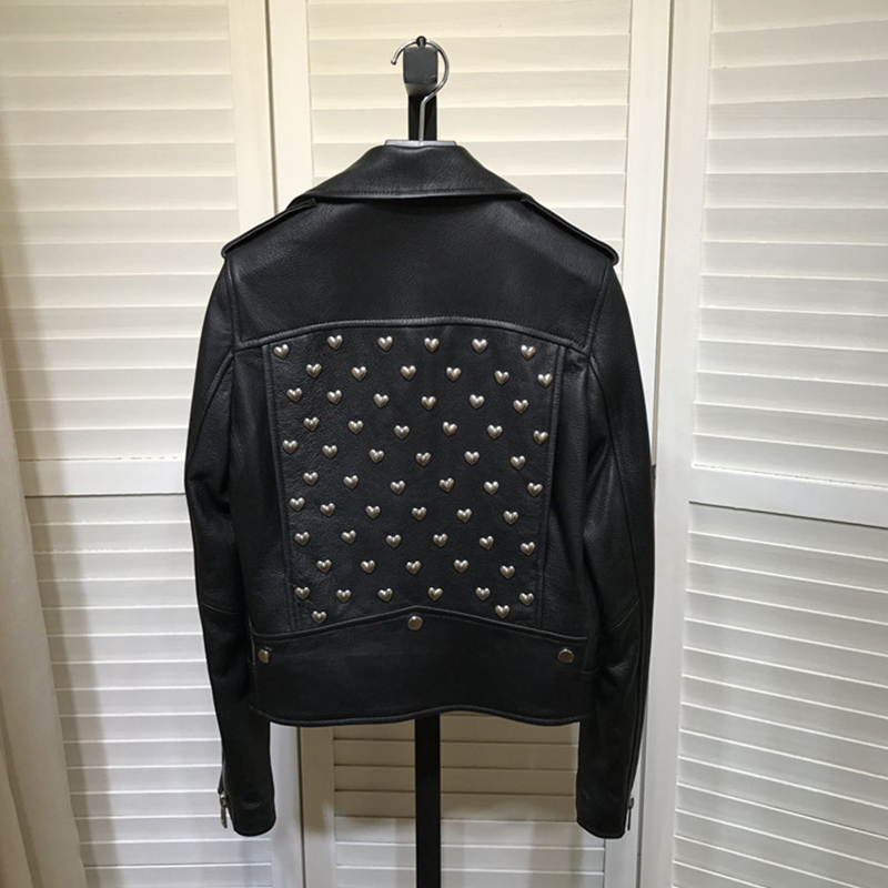 Chic womens rivet biker jackets 2019 autumn winter high quality real leather coat A998