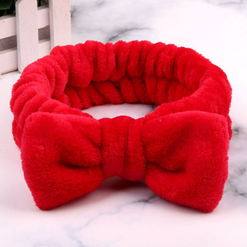 New Solid Color Coral Fleece Soft Bow Headbands For Women Girls Wash Face Hair Holder Bathing Hairband Headwear Hair Accessories
