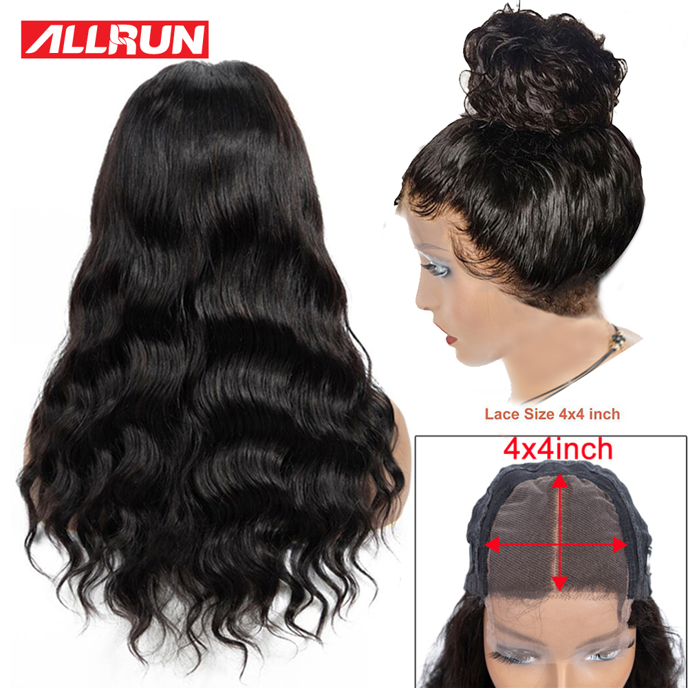 Allrun 4*4 Lace Closure Wig Malaysia Human Hair Wigs Body Wave Naturalline Pre-plucked With Baby Hair Nonremy Short Bob Lace Wig