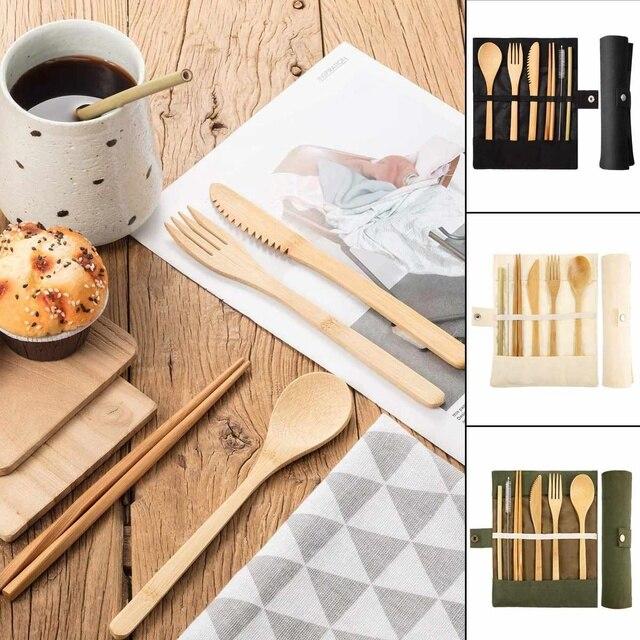 6 Pcs Tableware Natural Eco-Friendly Bamboo Wood Fork Spoon Cutlery Set Cutlery Tableware Dinnerware Sets 4