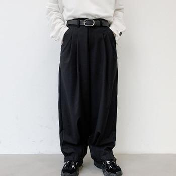 2020 novos homens de perna larga casual terno pant masculino japão rua moda vintage hip hop ajustável hem cone calças harem pant