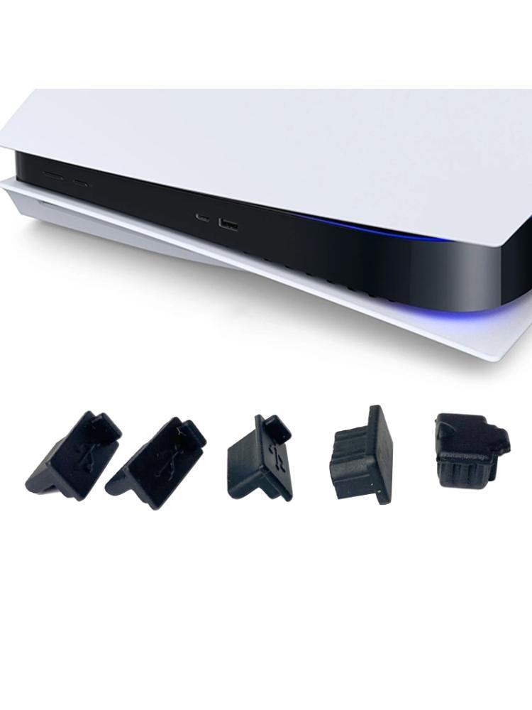 6pcs /7pcs Black Silicone Dust Plugs Set USB HDM Interface Anti-dust Cover Dustproof Plug for PS5 Game Console Accessories Parts 3