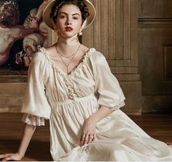 Medieval European stil 2020 Sommer Kleid Baumwolle Nachthemd Romantische Nachthemd Kleid Nachtwäsche Elegante Damen Nachthemd