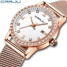 CRRJU Women Watch Stainless Steel Quartz Watches Lady Top Brand Luxury Fashion Clock Simple Wrist Watch Relogio Feminino
