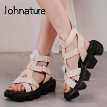 Retro Sandals Platform Flat Johnature Genuine-Leather Casual Summer with Handmade Concise