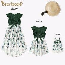 Bear Leader-trajes familiares a juego, moda para chicas, vestido de retales, trajes de flores para niños, trajes elegantes sin mangas para madre