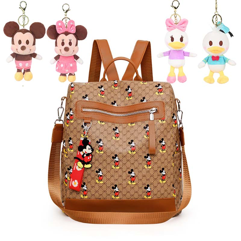 Disney Mickey Mouse Women Backpack Keychain Dolls Fashion Leisure Bag Capacity Waterproof Lightweight Travel For Girls Plush Toy