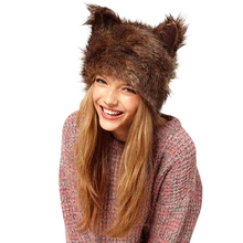 Fashion Faux Fur Hood Animal Hat Warm Winter Ear Flaps Animal Bomber