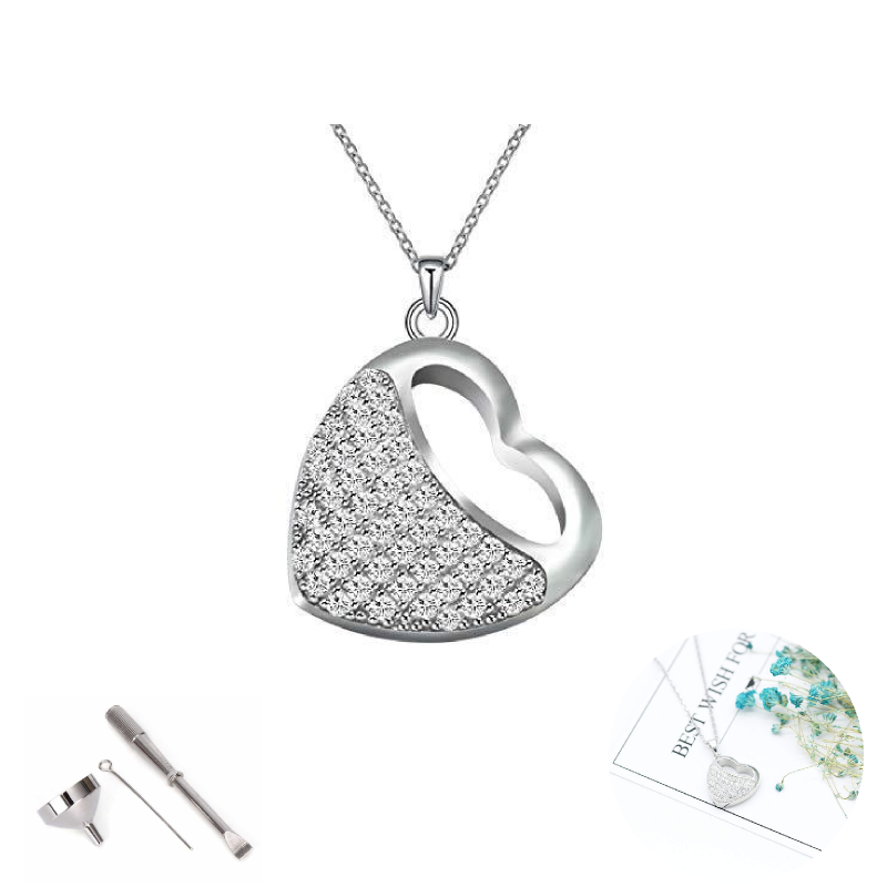 Uforever Stainless Steel Heart Shape Cremation Urn Necklace Crystal Inlay Cremation Jewelry for Ashes Keepsake Memorial Pendant
