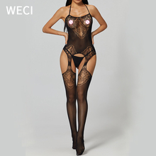 WECI Mesh Bodysuit Large Size Lingerie Pantyhose Full Body Stocking Sexy Costume Hot Women Clothes For Sex In Ass With Open Back