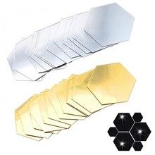 12 Uds. Pegatina 3D de espejo para pared decoración del hogar decoraciones hexagonales DIY extraíble para sala de estar decoración artística para el hogar Envío Directo