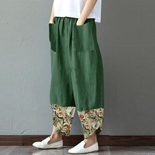 Trousers Irregular Pockets Floral-Pants Pantalon Robe Elastic Loose A20 Wide Femme Plus-Size