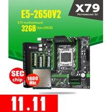 HUANAN ZHI X79 ZD3 เมนบอร์ด M.2 NVME MATX Intel Xeon E5 2650 V2 2.5GHz CPU 4 * * * * * * * 8GB = 32GB DDR3 1600MHZ ECC/REG RAM