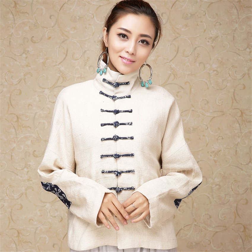 Traditional Chinese Woman Coat Retro Mandarin Collar Tang Suit Cotton Ethnic Casual Buckle Jacket Women China Hanfu Tops Shirt image
