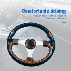 14 Inch PU Leather Metal Auto Racing Steering Wheel Classic Drifting Sport Golf Carts UTV Car Steering Wheel with Logo 4 Colors