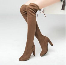 Women High Heel Over Knee Boots Female Slip On Stretch Suede Casual Shoes Ladies Pointed Toe Fashion 2019 Plus Size(China)