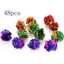 48 pçs mylar bolas brinquedo do gato brilhante crinkle som anel brilhante papel gatinho crackle para o brinquedo do gato