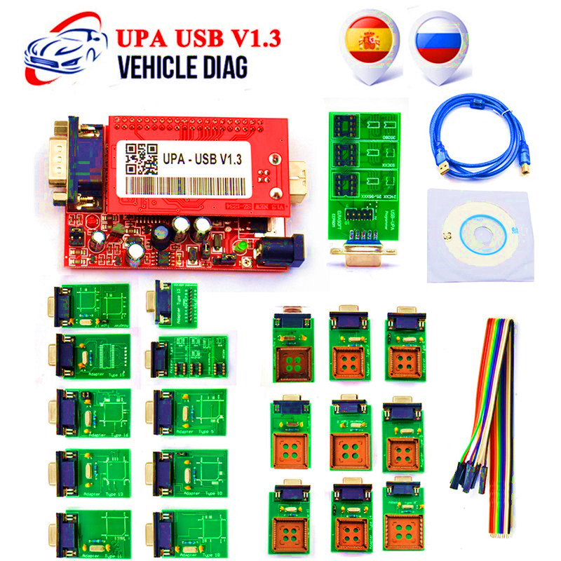 UPA USB Programmer V1.3 With Full Adapter OBD2 Car Diagnostic Tool UPA USB V1.3 ECU Programmer Turning Tool Eeprom Programmer