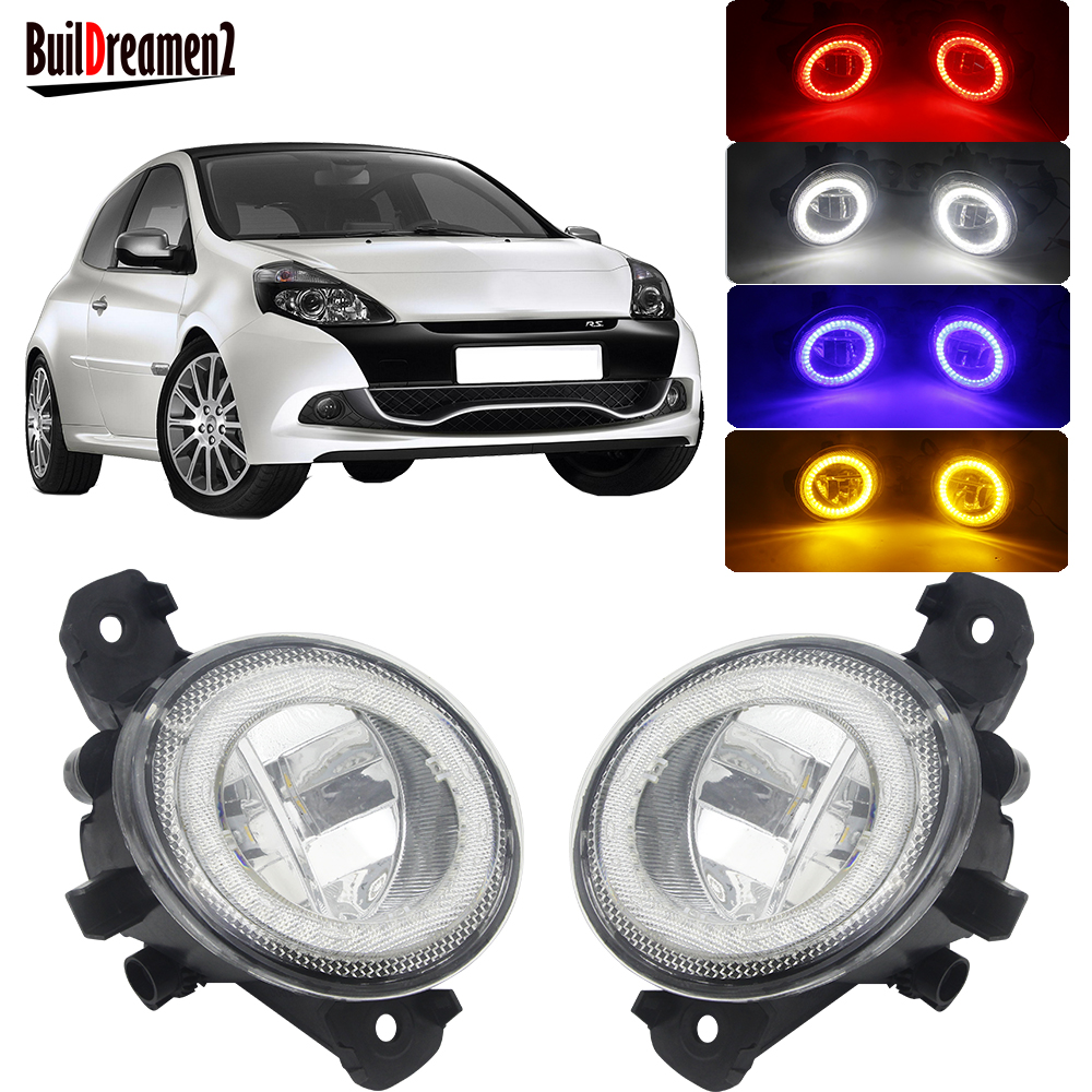 LED Angel Eye Fog Light Car Front Fog Lamp DRL Daytime Running Light For Renault Clio 3/III Hatchback Grandtour Estate 2005-2014