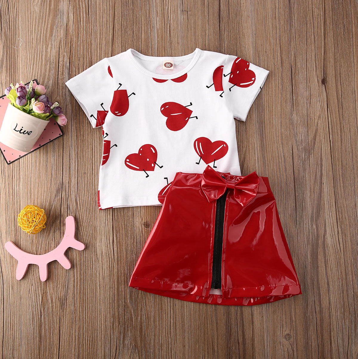 Pudcoco Toddler Baby Girl Clothes Valentine Love Peach Heart Print T-Shirt Tops Leather Skirt 2Pcs Outfits Clothes